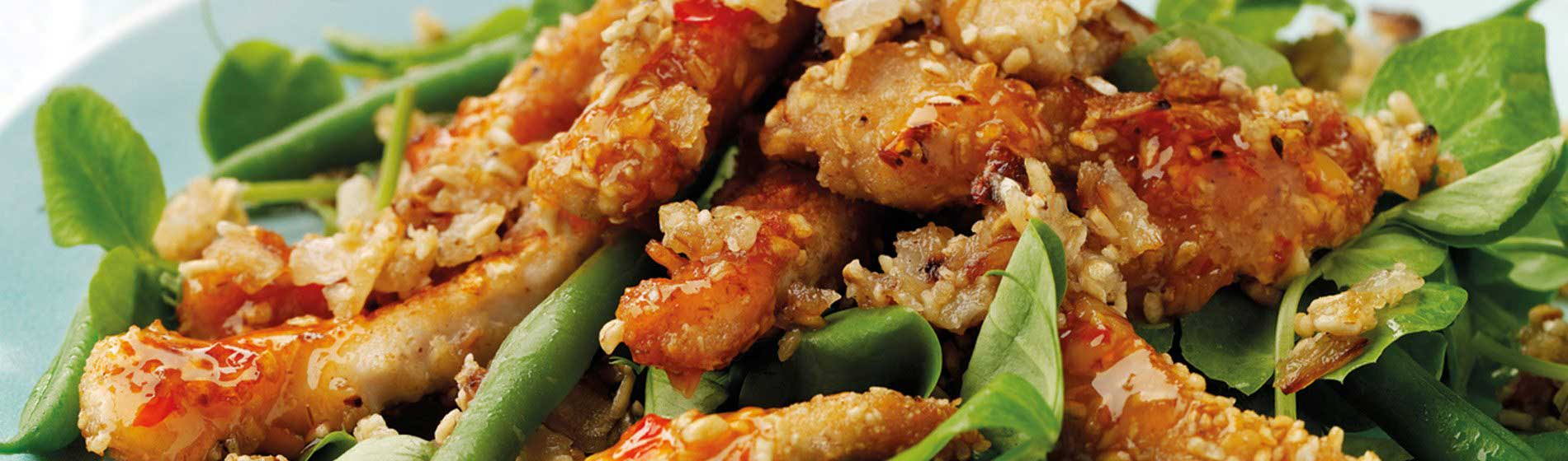 Warm Sweet Chilli Chicken Salad Topped with Toasted Onion Oatmeal