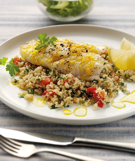 Baked Lemon Cod with Quinoa Tabbouleh Recipe
