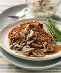 Oat Coated Pork with Spicy Mushroom Sauce Recipe