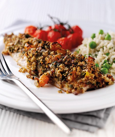 Oat Topped Mackerel Recipe with Roast Tomatoes