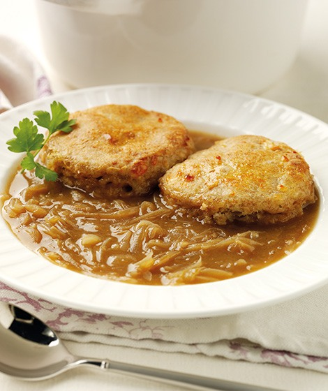 Baked Onion Soup with Wholemeal Cheese Cobblers