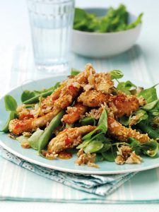 Warm Sweet Chilli Chicken Salad with Onion Oatmeal